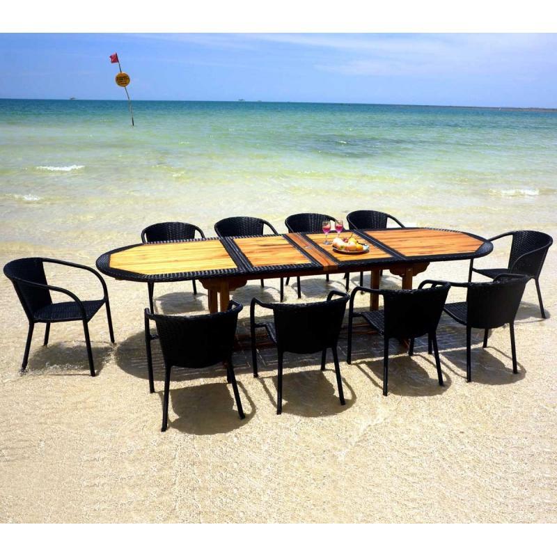 Table en teck et r sine avec ses 10 fauteuils empilables wood en stock - Table en resine ...