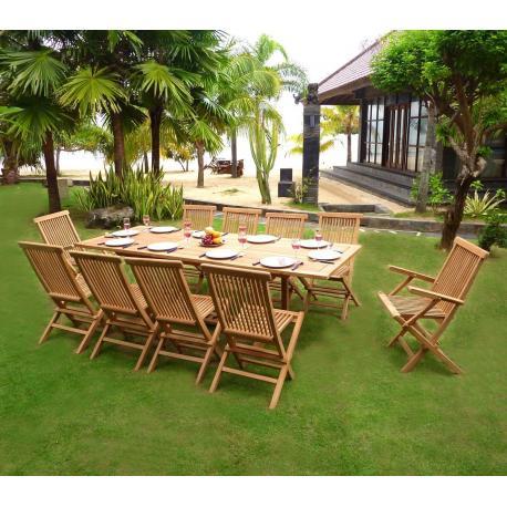 Salon de jardin en teck 10 personnes rectangle brut