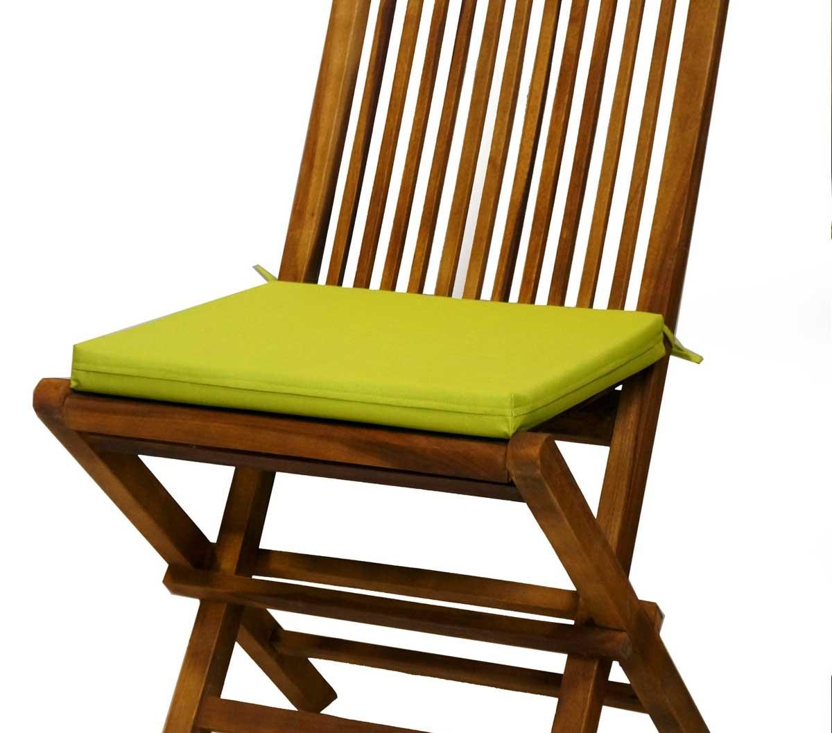 coussin vert lime en toile pour chaises et fauteuils pliants en teck wood en stock. Black Bedroom Furniture Sets. Home Design Ideas