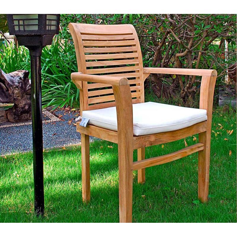 coussin blanc en toile pour fauteuils raja en teck wood en stock. Black Bedroom Furniture Sets. Home Design Ideas
