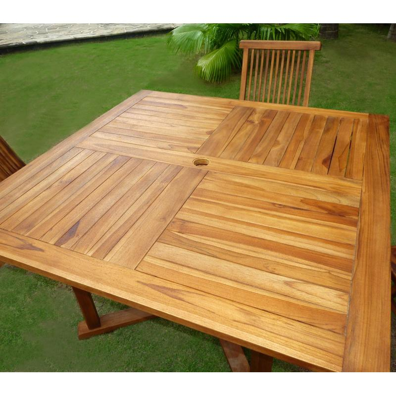 Table de jardin en teck carree des id es int ressantes pour la conception de des for Table carree 120 cm