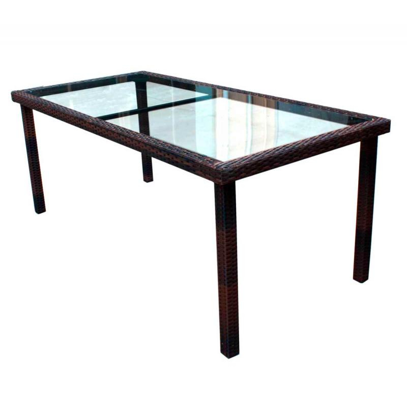 Table de jardin 192 cm en r sine tress e marron wood en stock - Table de jardin resine tressee ...