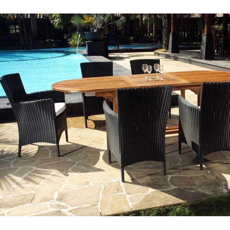 Salon de jardin java wood for Table jardin la redoute