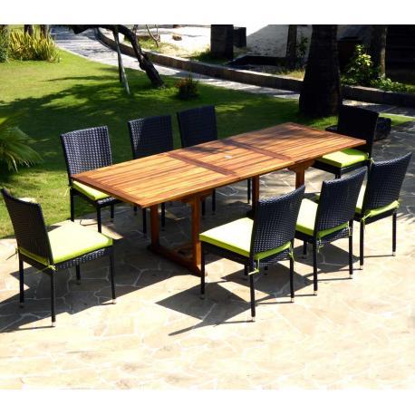 Salon de jardin Flores livré avec 8 chaises en résine tressée + coussins