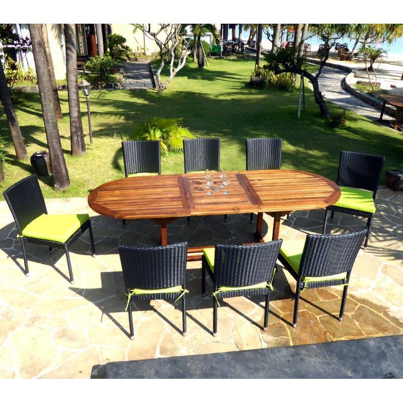 salon de jardin en teck java avec chaises en r sine tress e noire coussins wood en stock. Black Bedroom Furniture Sets. Home Design Ideas