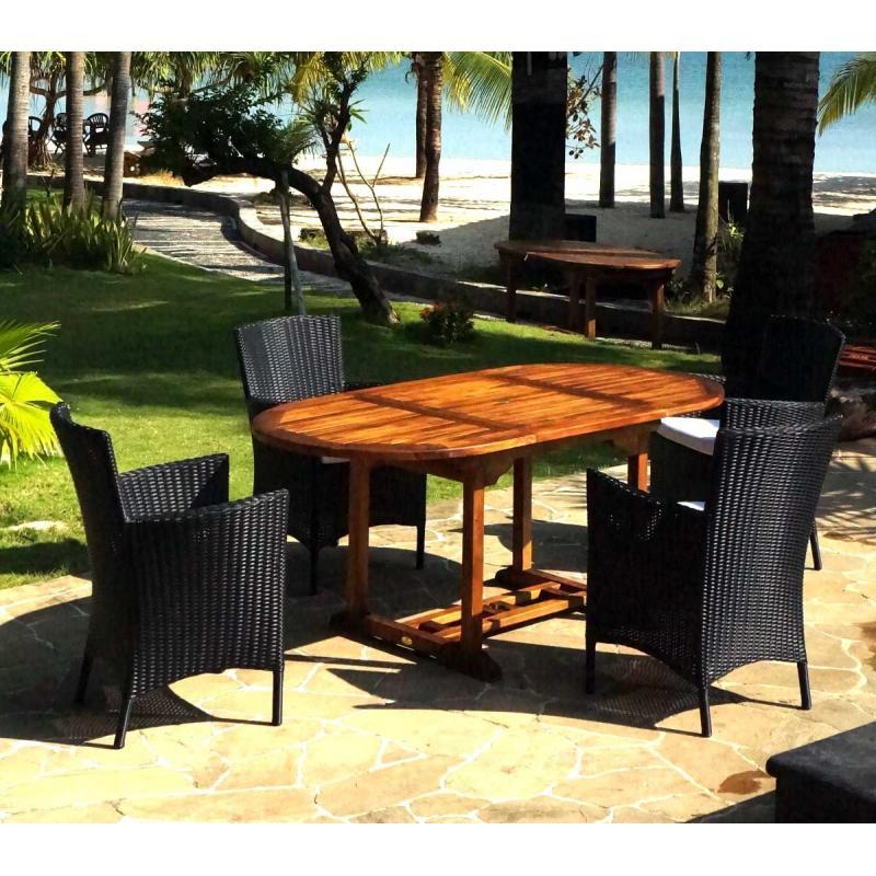 Salon De Jardin En Teck Bali 4 Fauteuils En R Sine Tress E Noire Avec Coussins Wood En Stock