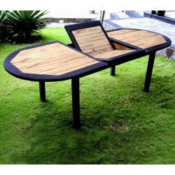 Table de jardin en teck et résine : modèle java ratan