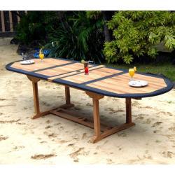 Table de jardin en teck et résine 12 places brute