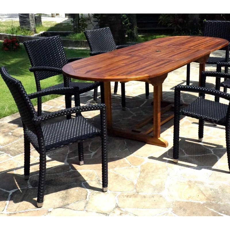 Salon de jardin en teck java avec 6 fauteuils en r sine - Salon de jardin avec fauteuil encastrable ...