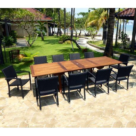 un salon de jardin en teck born o avec 10 fauteuils en r sine tress e. Black Bedroom Furniture Sets. Home Design Ideas