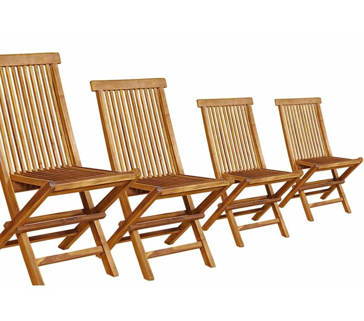 Lot de 4 chaises de jardin en teck huilé pliables et de qualité