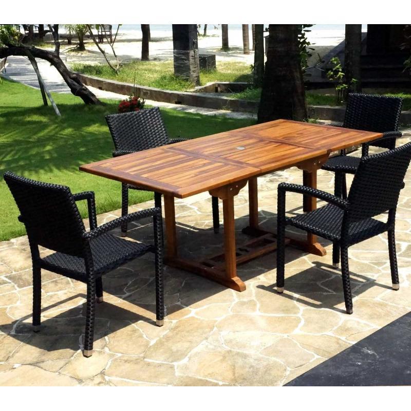 superbe salon de jardin avec table en teck et 4 chaises en r sine tress e. Black Bedroom Furniture Sets. Home Design Ideas