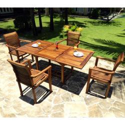 Table en teck 120-180 cm pour salon de jardin - wood-en-stock
