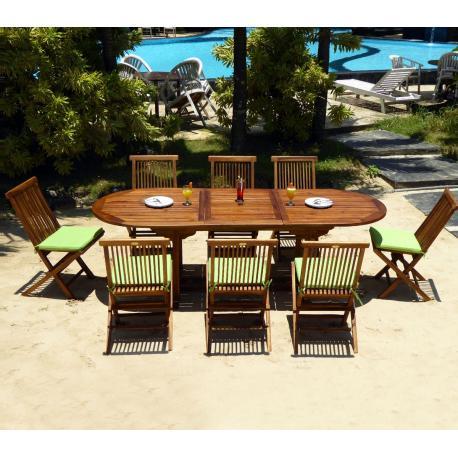 salon de jardin en teck huilé ensemble Bali 8 places + coussins