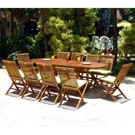 salon de jardin en teck huilé Java 8 places + coussins