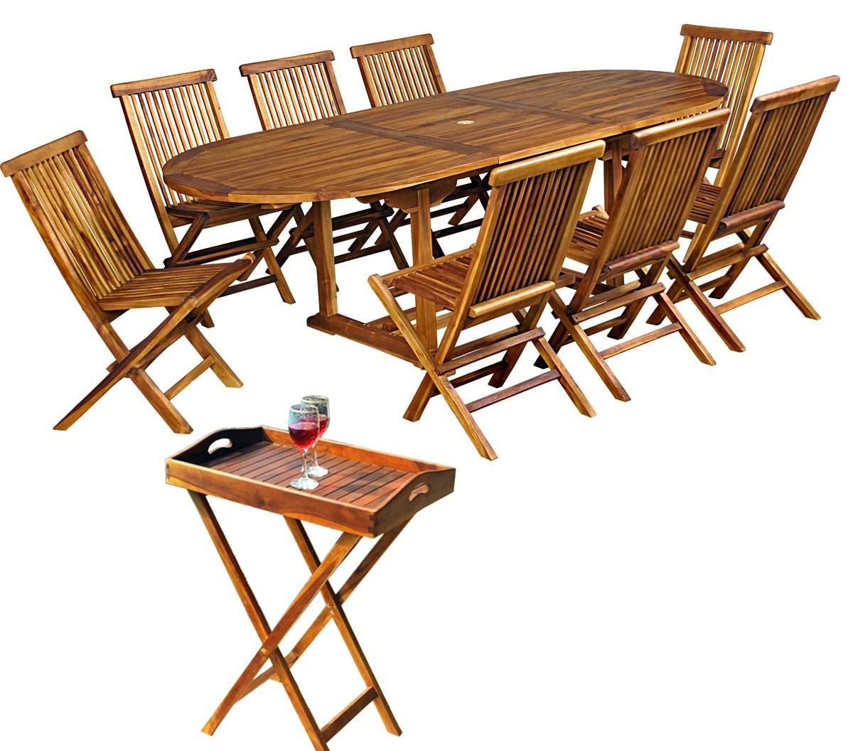 ensemble de jardin en teck propos avec 8 chaises et une table 180 240 cm. Black Bedroom Furniture Sets. Home Design Ideas