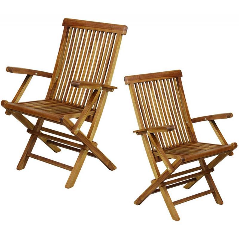 Lot exceptionnel de 2 fauteuils pliants de jardin kuta en teck huil et massif for Fauteuil de jardin en teck