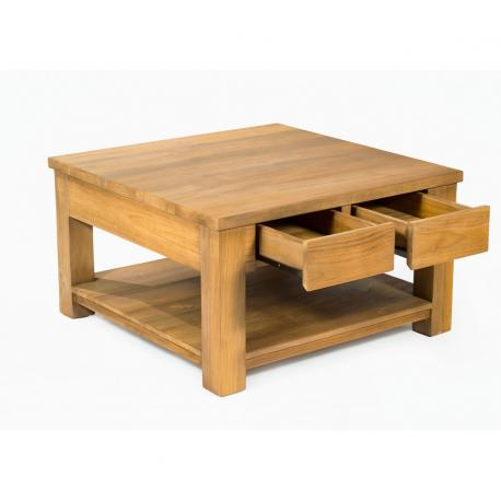 table basse en teck Huyana de salon 80 x 80 cm