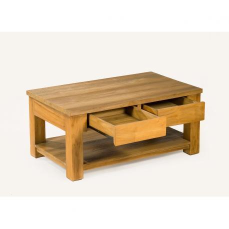 table basse en teck Huyana de salon 100 x 100 cm
