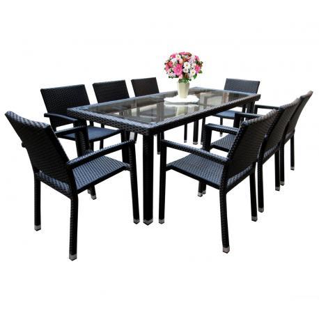 Salon de jardin en résine tressée rectangulaire 8 places table 192 cm