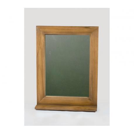 miroir de salle de bain en teck avec tablette