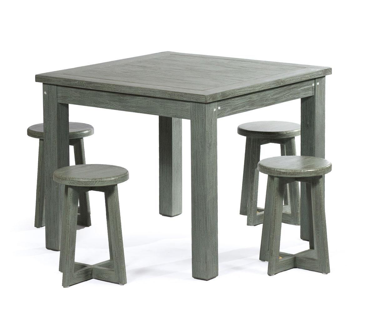 salon int rieur design en teck massif 4 places table carr de 90 cm. Black Bedroom Furniture Sets. Home Design Ideas