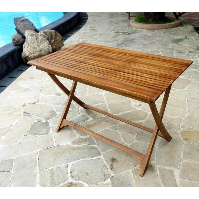 Table basse pliable en teck for Bar en teck de jardin