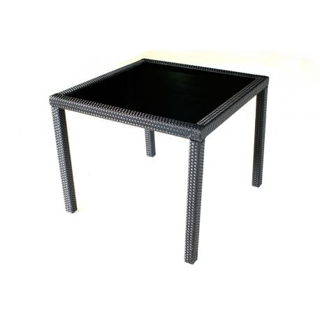 Table en résine tressée et plateau en verre trempé