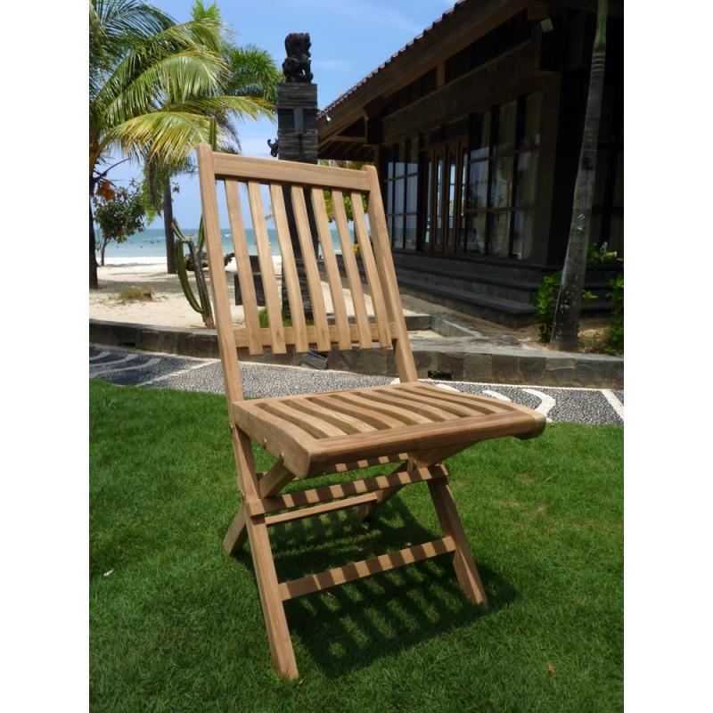Chaise en teck brut modèle pliant