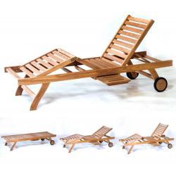 Transat en teck brut - bain de soleil - chaise longue de jardin