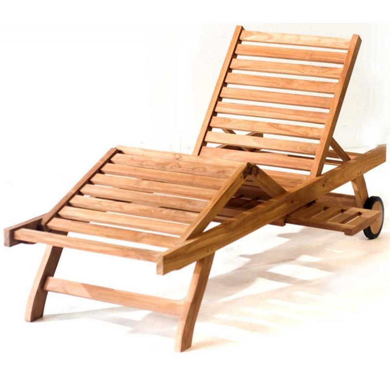 Transat bain de soleil en teck pas cher chaise longue for Chaise longue transat jardin
