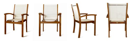 fauteuil de jardin en teck et batyline