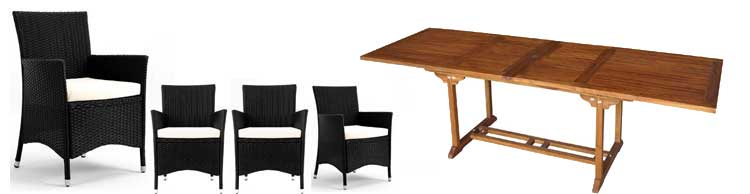 salon resine tressee de jardin table en teck 200-300 cm
