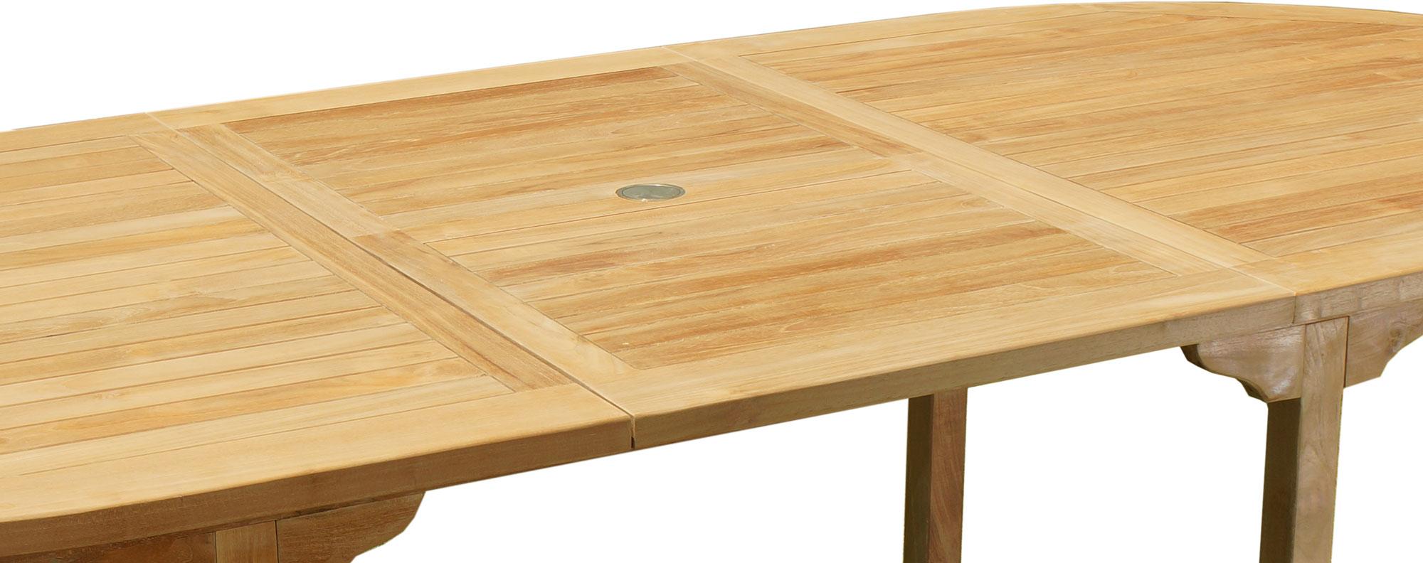 détail de la table de jardin en teck massif