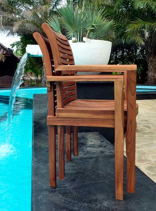 fauteuils de jardin en teck huilé Raja