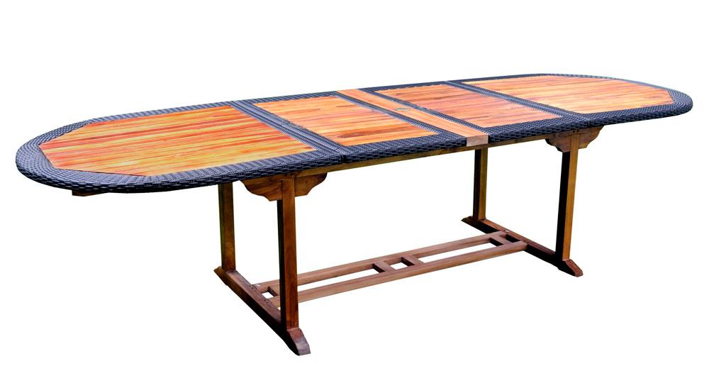 table en teck huilé et résine tressée 12 places