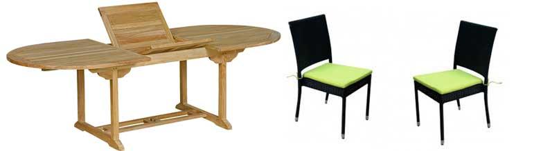 salon en teck brut et chaises resinee