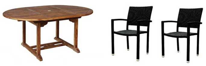 table de jardin et fauteuil en resine tressee