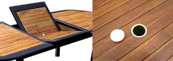 table de jardin en teck et résine tressée