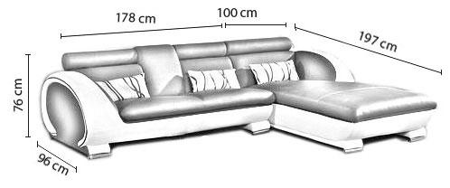 taille du canapé Elios