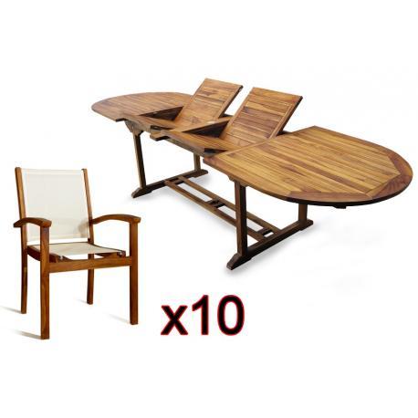 Salon de jardin en Teck huilé + 10 fauteuil teck et textile batyline