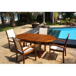 mobilier de jardin teck et résine 4-6 places teck et batyline