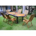 Salon de jardin en résine tressée et teck huilé + 6 fauteuils inclinables
