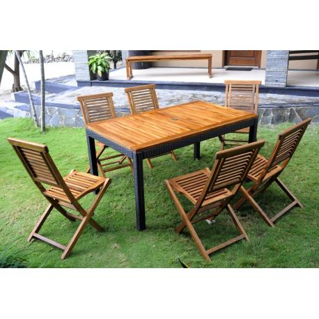 Ensemble de jardin table rectangle + 6 chaises pliantes