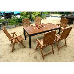 Meuble extérieur - ensemble table et 6 fauteuils inclinables