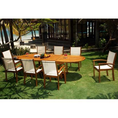 Salon de jardin batyline et teck - 8 fauteuils teck huilé