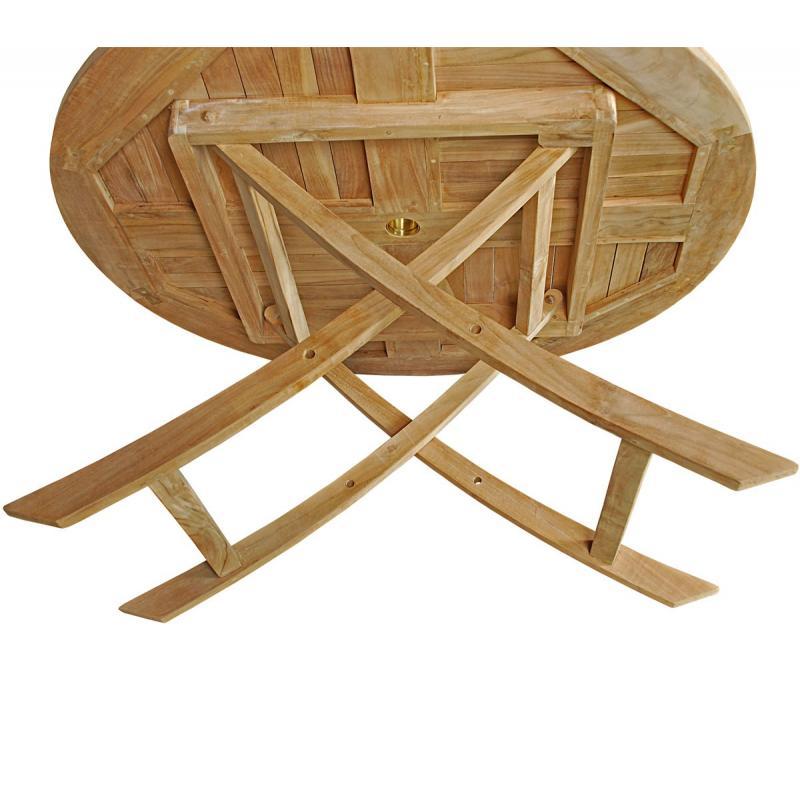 Table de jardin plainte en teck brut - table ronde en teck diametre ...