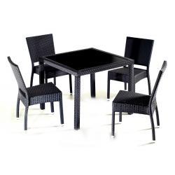 Salon de jardin en résine tressée x4 chaises
