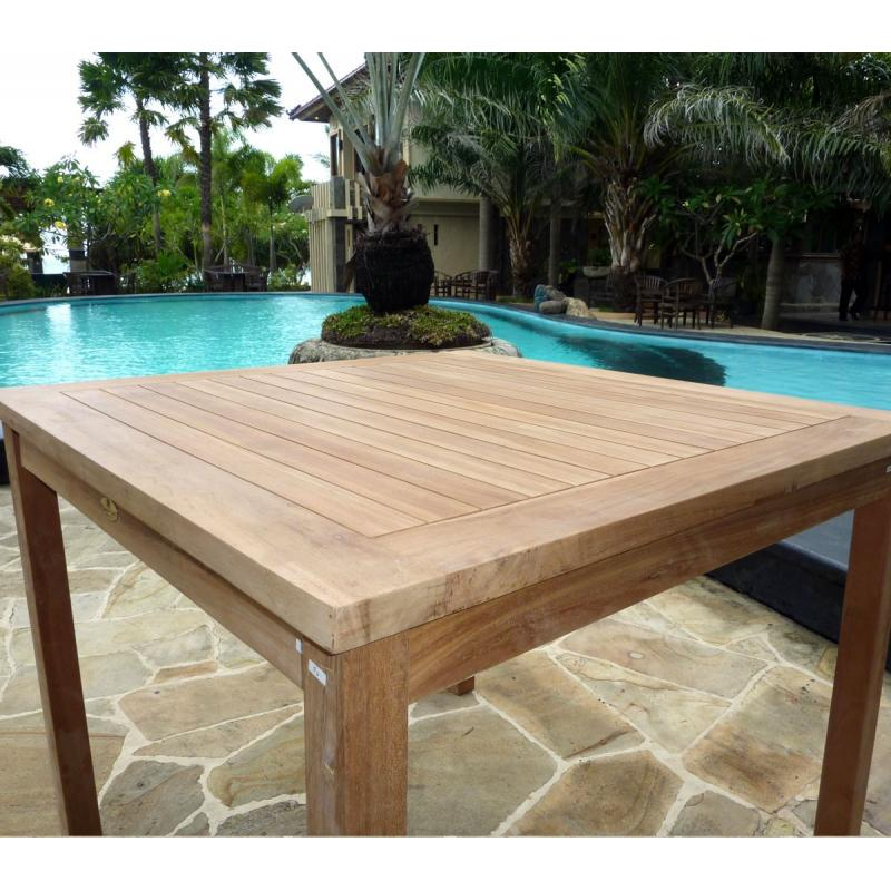 Table de jardin en teck brut - table carrée en teck 90 cm - mobiler ...