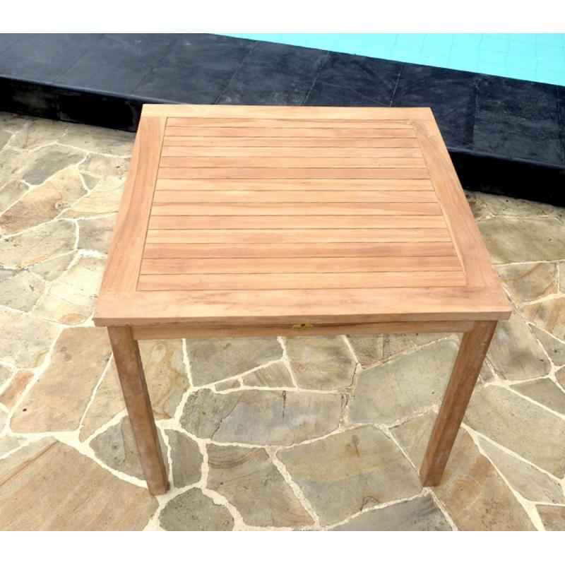 Table de jardin en teck brut - table carrée en teck 90 cm ...